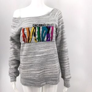 CINCINNATI BALLET Sweatshirt M Gray Rainbow Soft